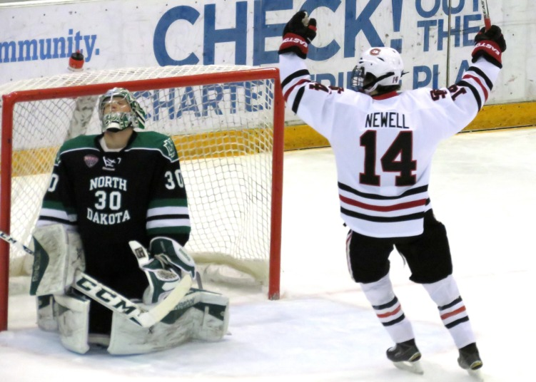 Patrick Newell Celebrates the HUskies first goal on Saturday (photo prout)