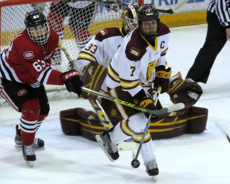 Patrick Russell scored the Huskies lone goal on Saturday in the 2-1 loss to UMD (Photo Prout)