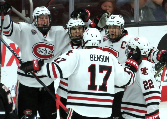 SCSU celebrates Ethan Prow's seventh goal of the season Saturday (Photo Prout)