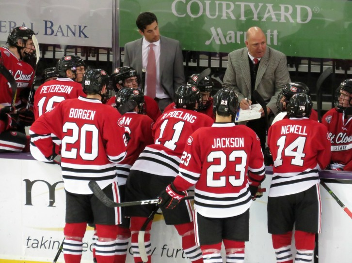 Coach Motzko and Staff have a week to prepare for another tough weekend vs Minnesota (photo prout)