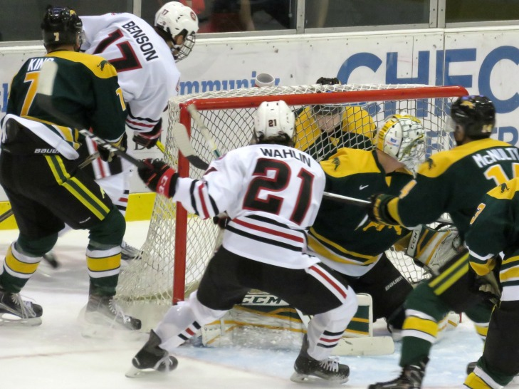 The Huskies Jake Wahlin crashes the net in the first period vs Regina (Photo Prout)
