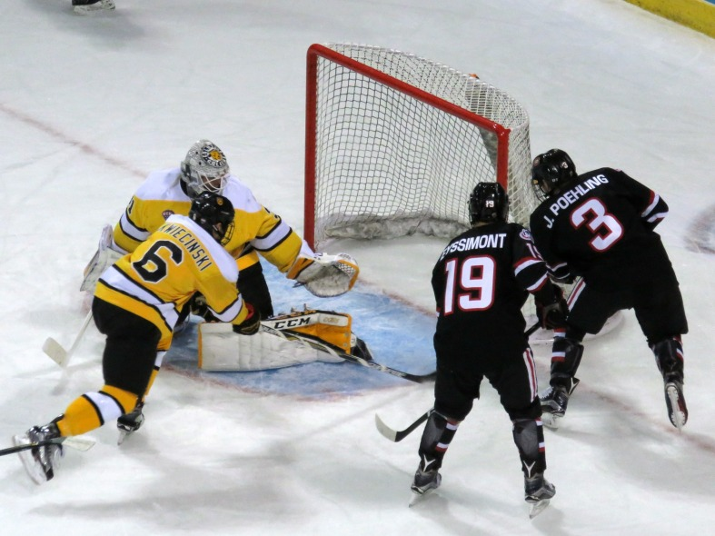 Jack Poehling scores a second period goal on Friday (photo prout)