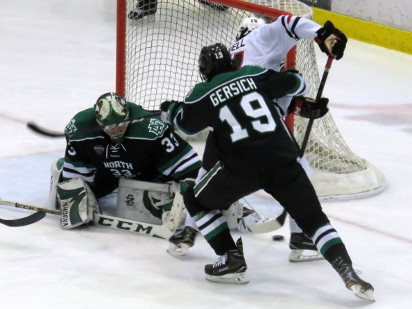 Cam Johnson and Shane Gersich led UND to a weekend sweep of SCSU (photo prout)