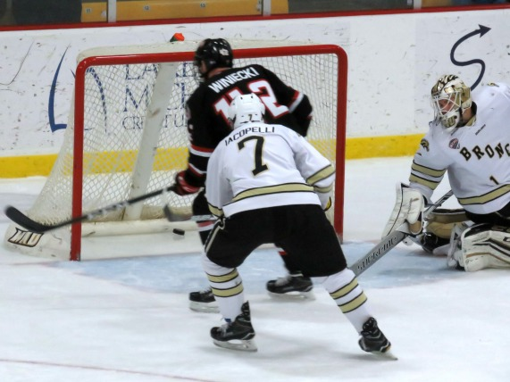 Blake Winiecki scores a third period goal on Friday  vs Western MIchigan (photo prout)