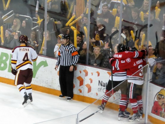 SCSU Celebrates a second period goal on Saturday (Photo Prout)