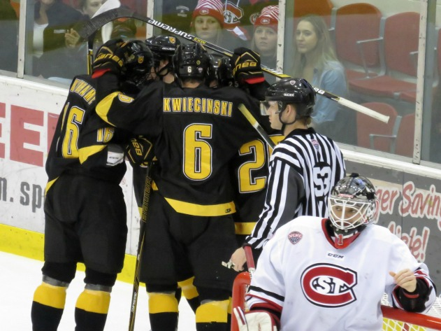 Colorado College celebrates a goal by Branden Makara on Saturday (Photo Prout)