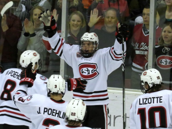Judd Peterson celebrates his third period goal on Friday (Photo Prout)